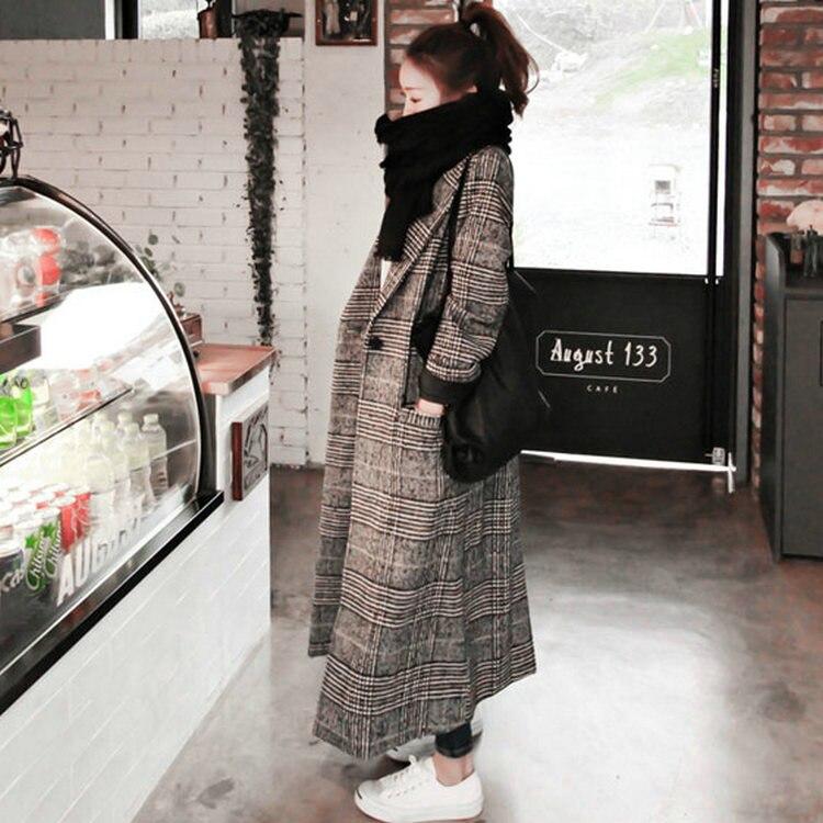 2018 femmes oose outwear femme hiver automne trench manteaux plaid à manches longues en laine pardessus l grande taille long manteau
