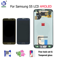 SUPER AMOLED HD LCD Display With Touch Screen Digitizer Assembly Home Button Flex For Samsung S5