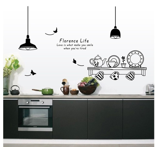 Charming Free Shipping Florence Life Removable Wall Stickers Kitchen Restaurant Tea  Cup Cupboard Decorative Decals Wall Murals