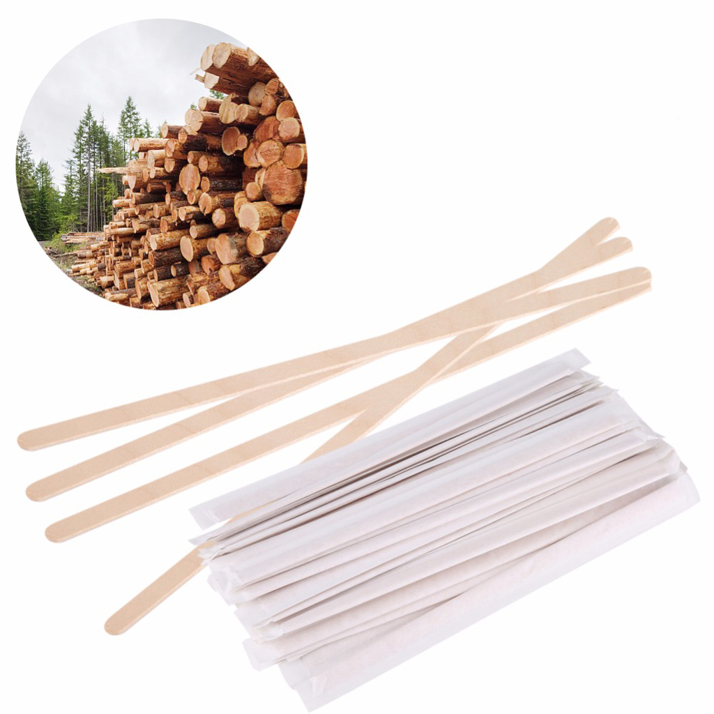 100 Pcs 140mm Disposable Wooden Coffee Stirrer For Hot Cold Drink Beverage 5.5'' of 100% Pure Birch Wood|Coffee Scoops| |  - title=