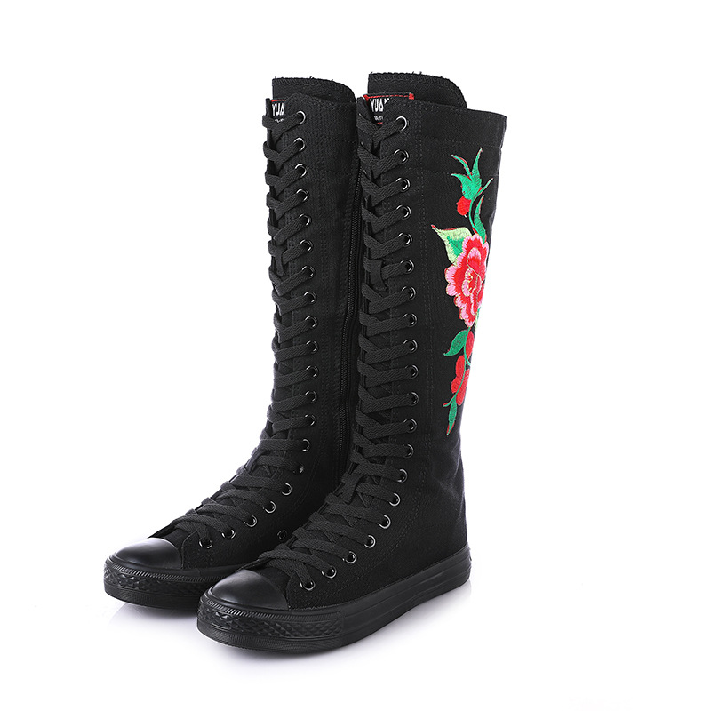 Fashion embroidery dance tie side zipper super high boots canvas shoes tide