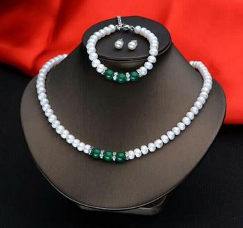 BEAUTIFUL 7-8 MM White NATURAL PEARL SET NECKLACE + EARRING + BRACELET