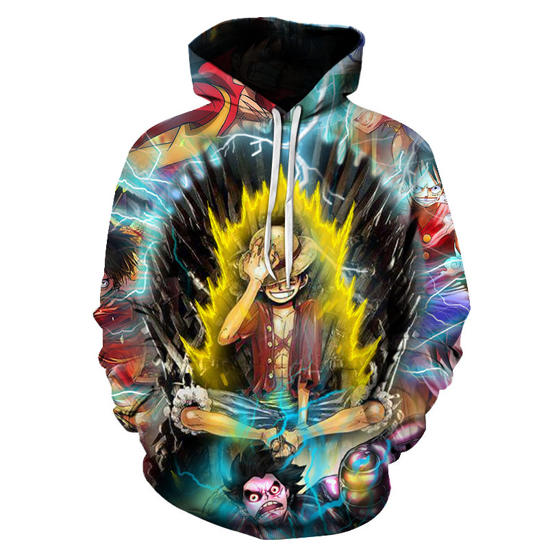 Luffy 3D One Piece Hoodies Cute Classic Anime Casual 2019 Unisex Adult Boys Casual Funny Character Streetwear