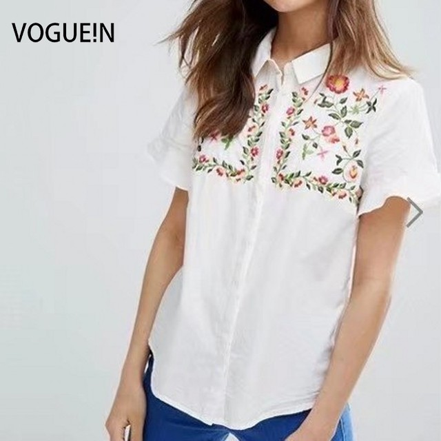221e5230 VOGUEIN New Womens Floral Embroidered Short Sleeve Button Down Shirt Blouse  Tops Size SML Wholesale