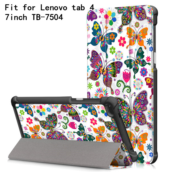 Printed cover case for Lenovo Tab4 Tab 4 7 inch TB-7504 TB-7504F TB-Lenovo Tab 7 TB-7504X(2017) Smart Cover+gift lenovo tab 4 tb 7504x [za380077ru] black 7 1024x600 ips mediatek mt8735b 1gb 16gb 3g gps wifi bt android 7 0