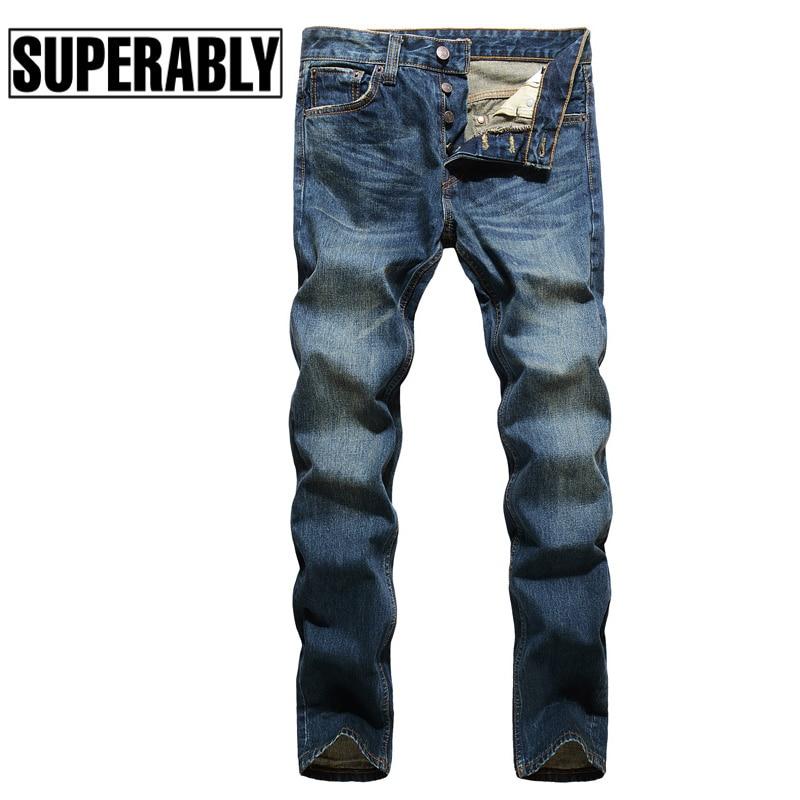 Superably Brand Men Jeans Nostalgia Vintage Design Denim Jeans Mens Buttons Pants Straight Fit Casual Classic Style Jeans Men 1 pcs jeans for men cheap china straight regular fit denim jeans pants classic blue color brand clothes size 28 to 38 bn446