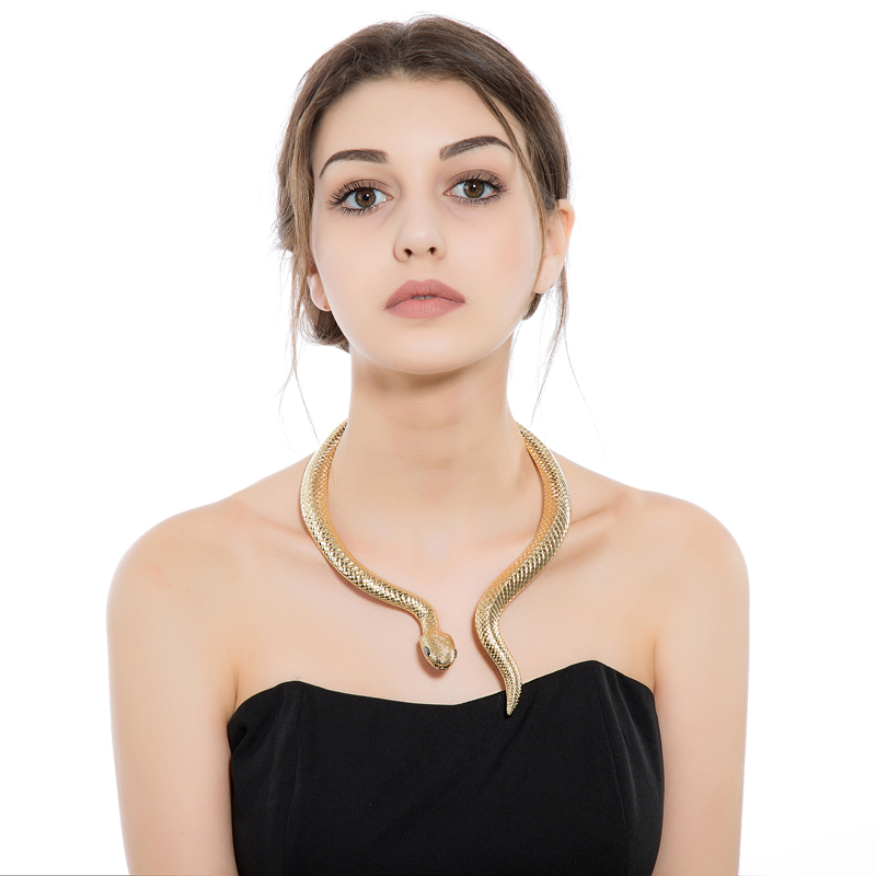 Goldtone Snake med Black Eyes Curved Bar Design Justerbar Neck Collar Choker Halskjede for kvinner Party smykker XL048