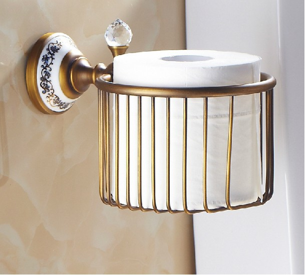 Antique Bronze Bathroom Brass Toilet Paper Holder Roll Holder Paper Towel Holder Shower Storage