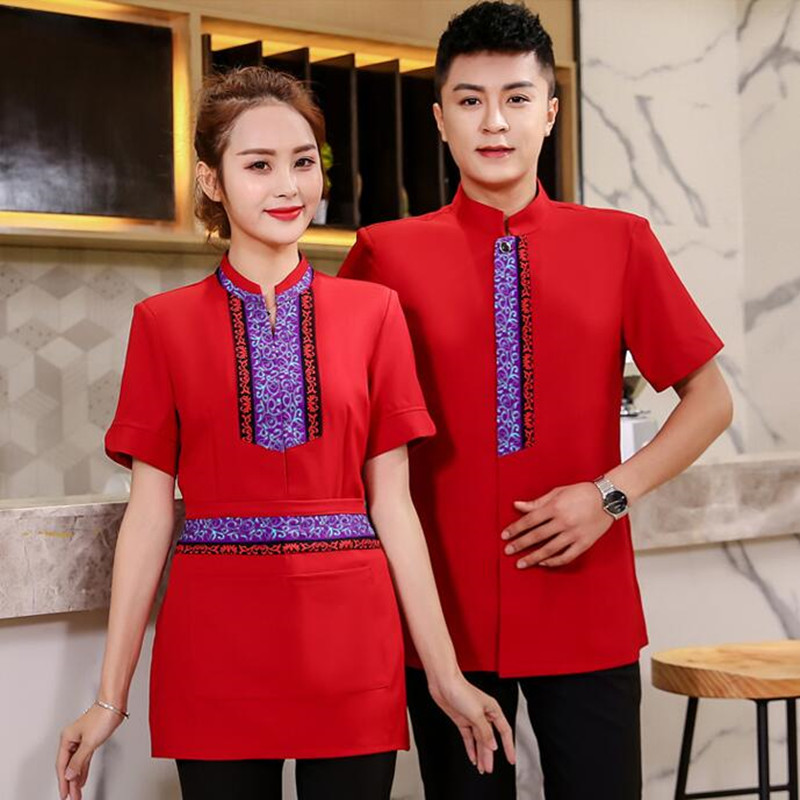 Waiter Work Clothes Short-sleeve Hotel Chinese Restaurant Waitress Lady Overalls Hot Pot Shop Plus Size Breathable Uniform H2204