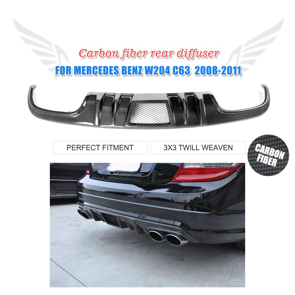 Rear Mesh Carbon Fiber Diffuser Fit For Mercedes Benz W204 C63 AMG Bumper 08-11 2007 bmw x5 spoiler