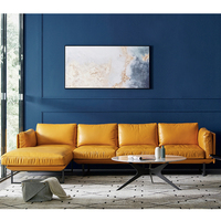 Commercial L shape North Eugrope Modular sectional Genuine royal leather sofa