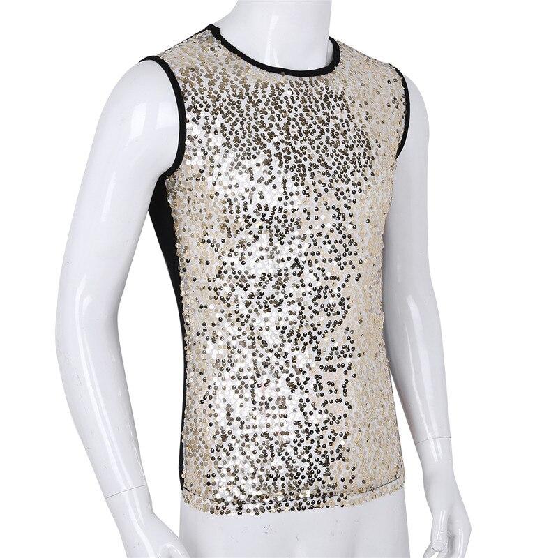 Image 5 - Yizyif 男性のスパンコールタンクトップ光沢のあるクロップトップベストクルーネックスリムベストセクシーな wetlook タンクトップクラブウェア tシャツマッスルタンベストトップタンクトップ   -