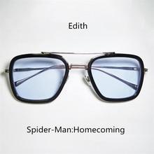 Человек-паук: вдали от дома очки Эдит Косплей Аксессуары Опора Железный Человек очки Эдит Модные солнцезащитные очки самолет зеркало