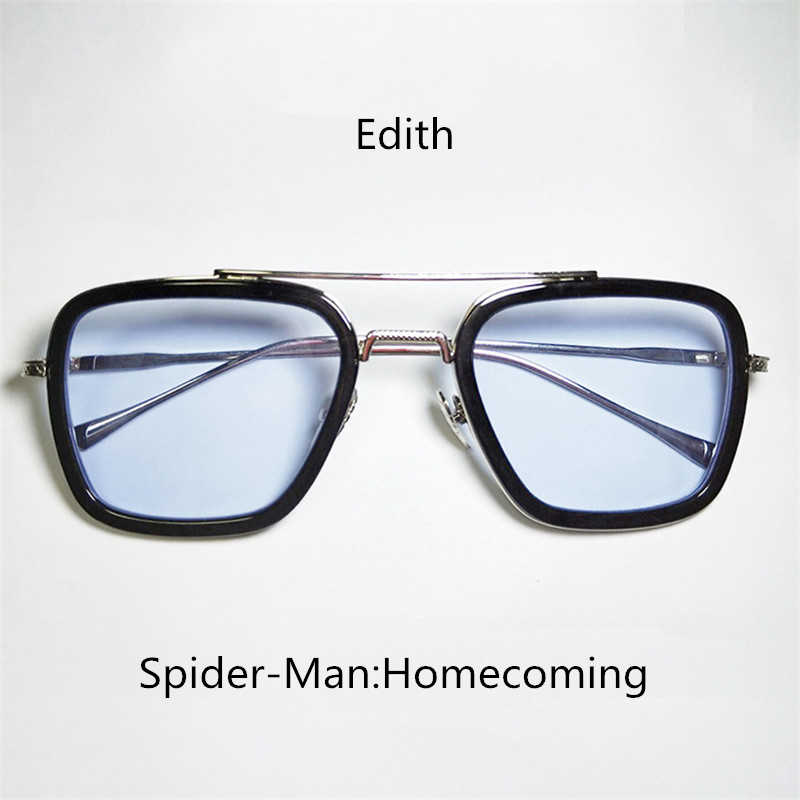 2019 Spider-Man: Far From Home Glasses Edith Cosplay Accessories Prop Iron Man Eyewear Edith Fashion Sunglasses Plane Mirror