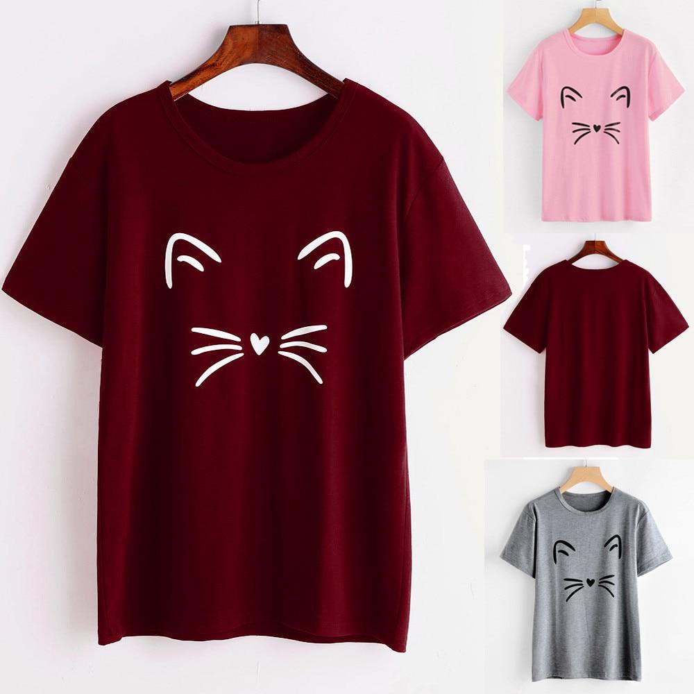 Begeistert Frauen Mode Schlanke Japanischen Einfarbig Beiläufige Kurze Hülse O-ansatz Katze Gedruckt Kausalen Bluse Tops T-shirt