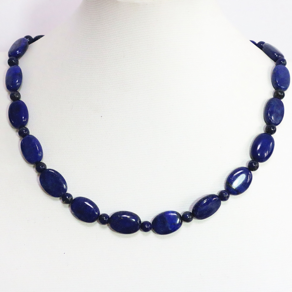 Unique blue lapis lazuli 13*18mm natural oval beads 6mm spacer accessories high grade women diy necklace 18inch B1449