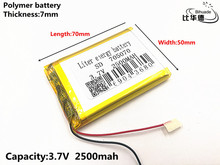 1pcs/lot Good Qulity 3.7V,2500mAH,705070 Polymer lithium ion / Li-ion battery for TOY,POWER BANK,GPS,mp3,mp4