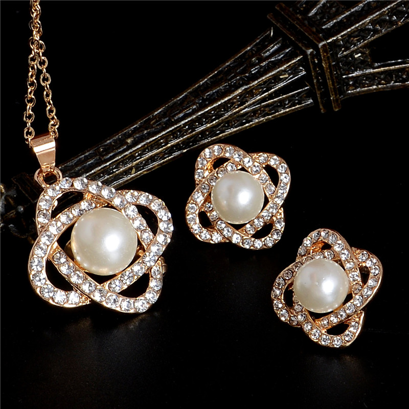 Gold//Silver Plated Beads Pearl Crystal Necklace Set Fashion Wedding Jewelry Sets