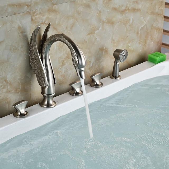Luxury Swan Bathroom Tub Faucet Hand Sprayer Deck Mounted Brushed