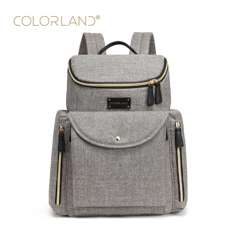 Large Waterproof Bag Backpack for Mom and Dad, Changing Pad Mommy Backpack, Mom Shoulders Bags, Grey Unisex Organizer dad mom
