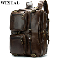 WESTAL 100% Genuine Leather Men Backpack School Bags for Teenager Large Travel Backpacks for Laptop backpack mochila notebook 43