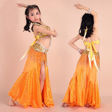 Barn Indien Dans Kostym Flicka Skal kjol Belly Dance Dress 3 st / set Bollywood Dance Kostymer Performance Belly dance