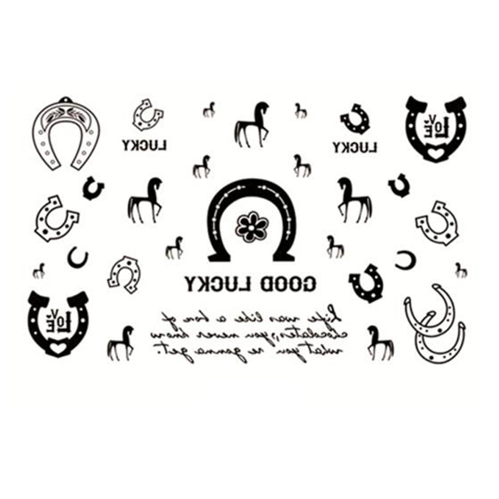 Yeeech Temporary Tattoos Sticker for Women Fake Lucky Horse Magnet Love Designs Black White Sexy Arm Leg Chest Body Art Makeup