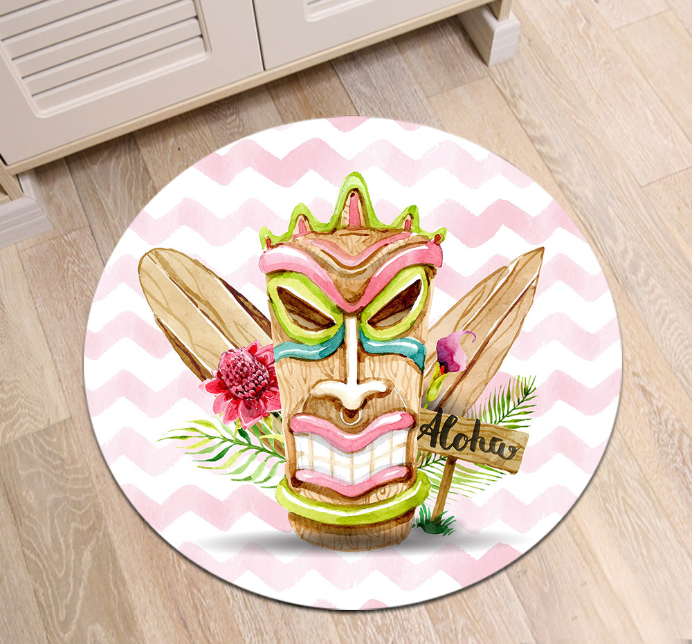 Us 12 18 40 Off Hawaiian Mask Aloha Customized Round Living Room Floor Area Mat Children S Carpets Bathroom Non Slip Cushion Home Door Rugs In