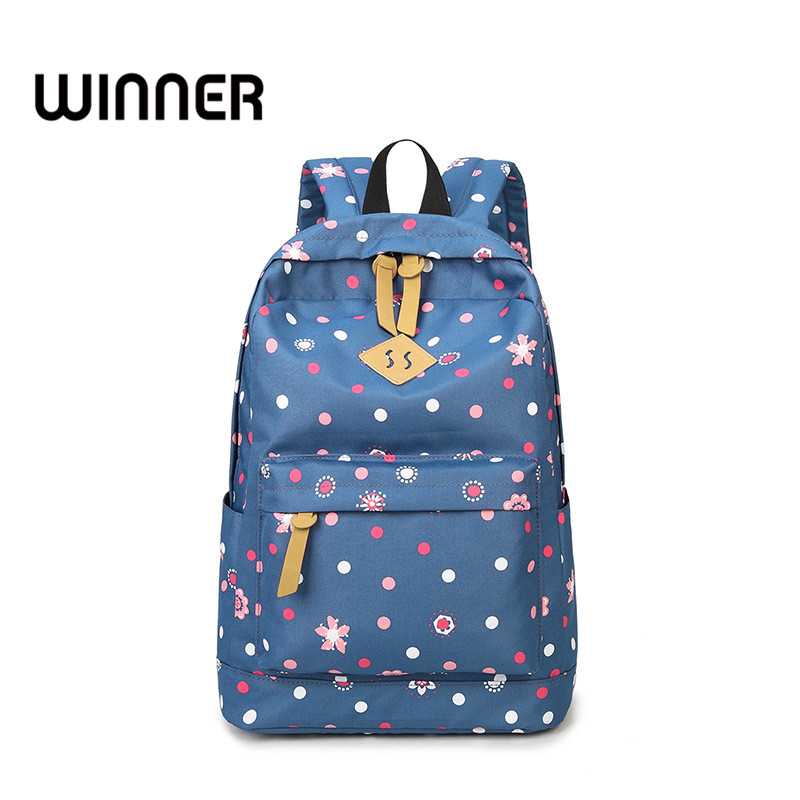 Winner Brand Mori Girls Wind Canvas Preppy Style Women Backpack Fresh Floral Printing Travel Bag for