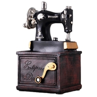 Vintage Resin Sewing Machine Pen Holder Ornaments Figurine Retro Crafts Old Furniture Sewing Machine Miniature Home Decor Gift