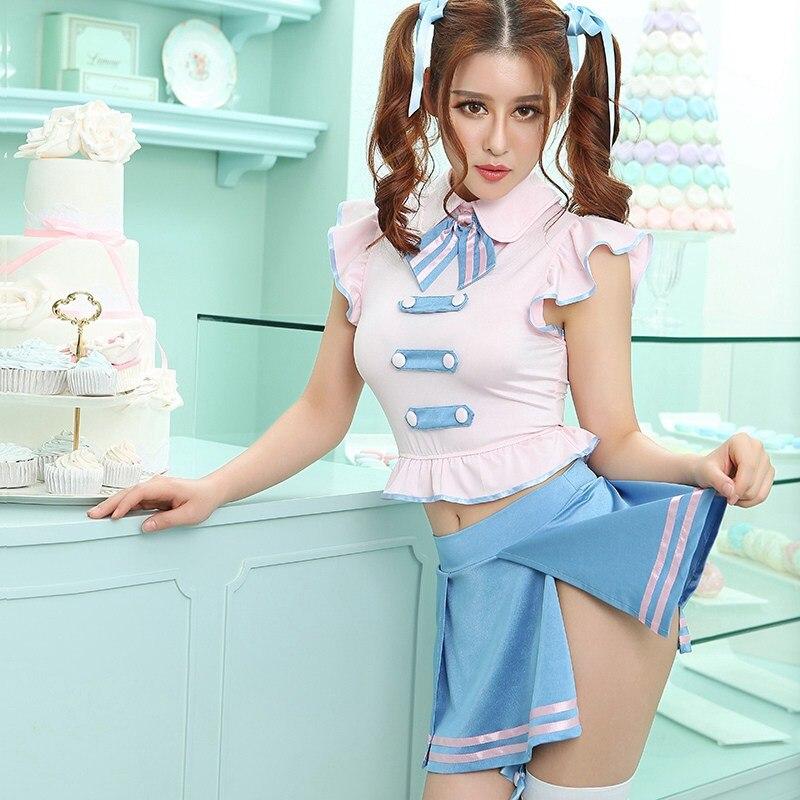 Cheerleader Costume Schoolgirl Lingerie Japan High School Girl Sexy Costumes Sailor Moon Dress 6261
