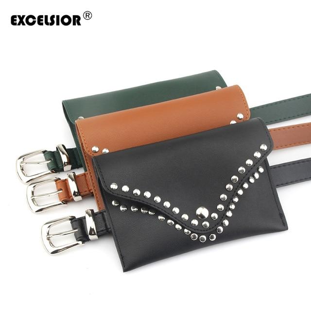 EXCELSIOR 2019 Fashion New Women's Waist Bag Solid Mini Rivet Decorated Crossbody Bag High Quality Pu Leather Belt Bag G2038