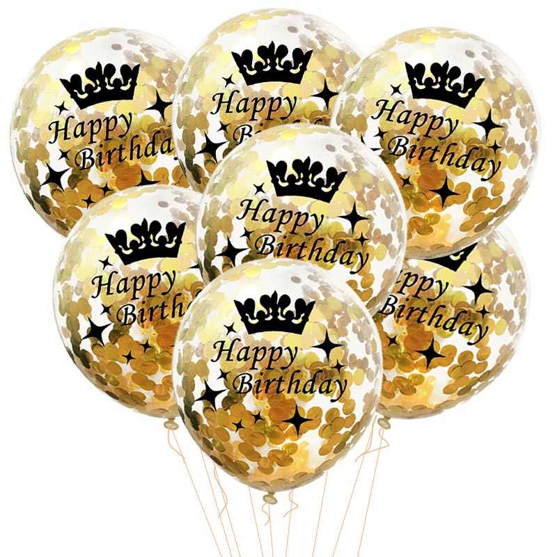 5pcs Confetti Happy Birthday Balloons Latex Clear 18 30 40 50 Yesrs Balloons Inflatable Birthday Party Decoration Favors ballons