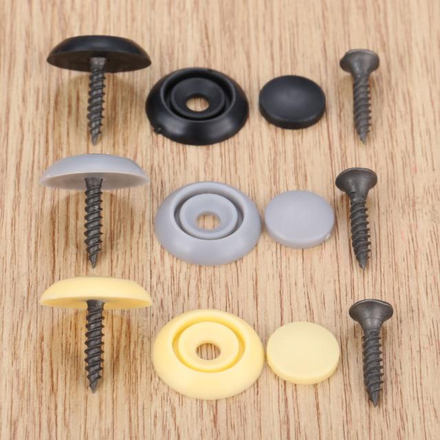 Yetaha 50Pcs Car Roof Button Snap Rivets Retainer Auto Screw Clips Plastic Black Grey Beige Plastics Fasteners