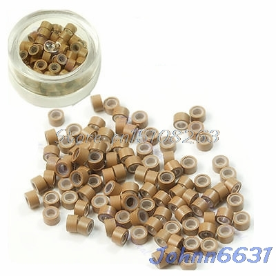 100Pcs Silicone Micro Ring Feather Hair Extensions Crimp Beads khaki -Y207 Drop Shipping