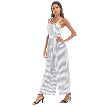 238c8033242 Liva girl summer jumpsuits for women sexy white outfit plus size striped  loose