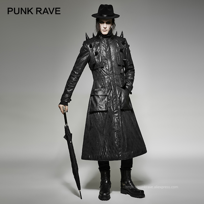 PUNK RAVE Heavy Punk Men's Synthetic Leather Handsome Jacket With Spiked Cons Pointed Cone Long Leather Turtleneck Zipper Coat
