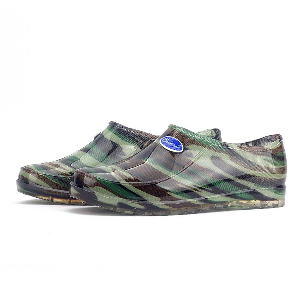 Intelligent Mokingtop Freizeit Männer Camouflage Flache Runde Kappe Schuhe Wasserdicht Niedrigen Zylinder Regen Stiefel Chaussures Hommes # G10 mokingtop