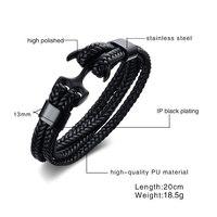 Genuine Handmade Braid Vintage Leather Anchor Bracelets Bangles Men Stainless Steel Punk Accessories Jewelry Wholesale