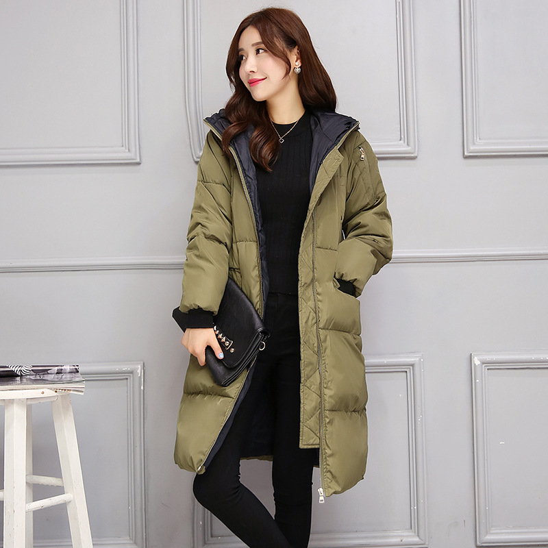 Winter Coat 2016 New Fashion Women Thick Long Parkas Hooded Slim Cotton Coats Female Parkas Plus Size XL A3942