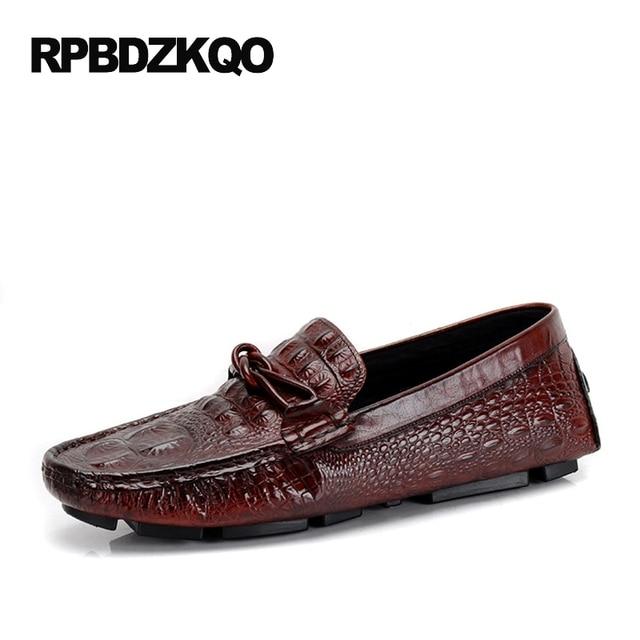 1af3bbf8318 Men Casual Shoes Hot Sale Burgundy Black Alligator Loafers Cow Leather Slip  On Real Crocodile 2017