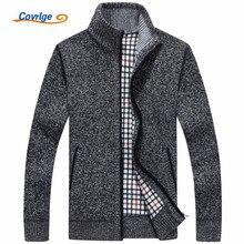 Covrlge Mens Turtleneck Sweater 2019 Winter New Plus Velvet Thick Male Cardigan Fashion Zipper Knit Jacket MZM019
