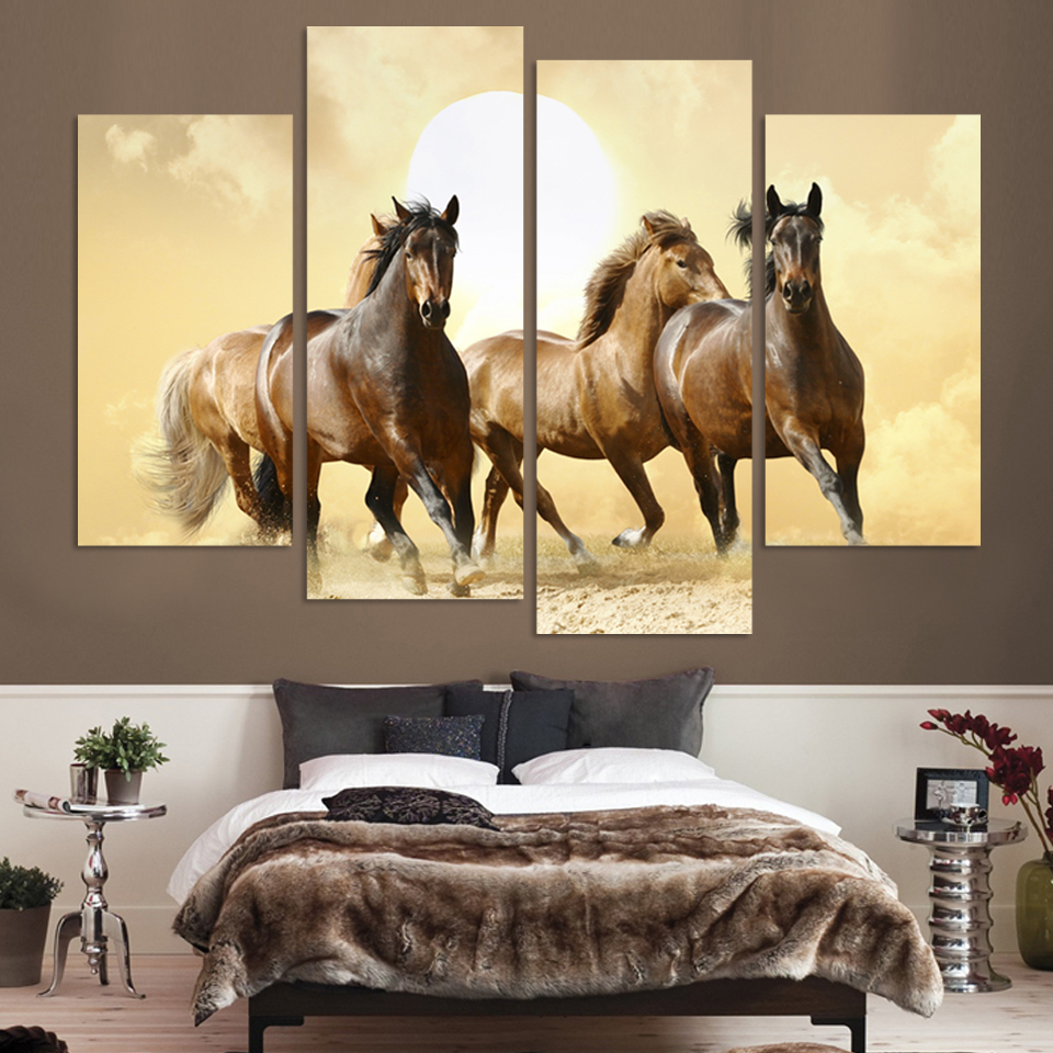 4Panel Modern Horse Painting 4 Panel Set Abstract Canvas Art Wall Hangings Restaurant Decoration Pictures CRAFTS Direct Selling