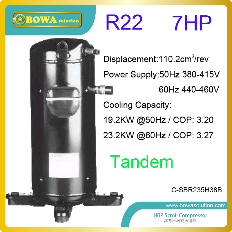 7HP tandem coolant scroll compressors with oil balance port are suitable for kinds of applications in Indonesia and Thailand