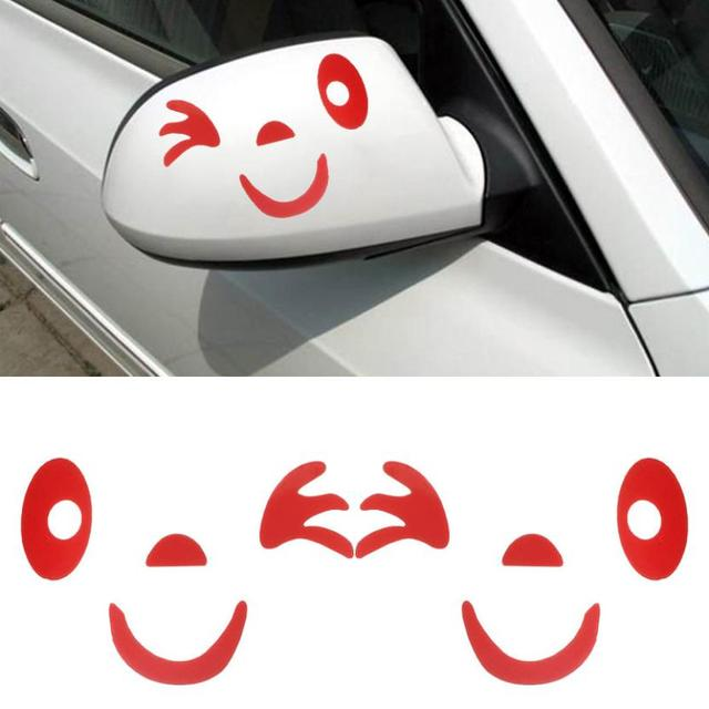 AG 26 Mosunx Business 2016 Hot Selling   Smile Face Design 3D Decoration Sticker For Car Side Mirror Rearview
