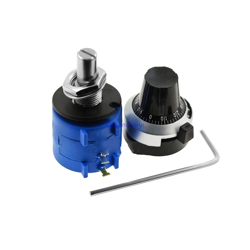 3590S-2 3590S Series Precision Multiturn Potentiometer 10 Ring Adjustable Resistor+Turns Counting Dial Rotary 6.35mm Knob