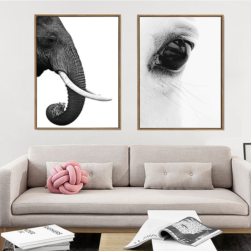 Modern Simple Animals Features of Black White Elephant Head and Horse Eye Calm Wall Art Canvas Print Wall Poster For Home Decor african elephant