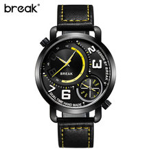 BREAK Men Sports Watch Dual Movement Quartz Wristwatches Dual Time Display Top Leather Band Waterproof Fashion Watches