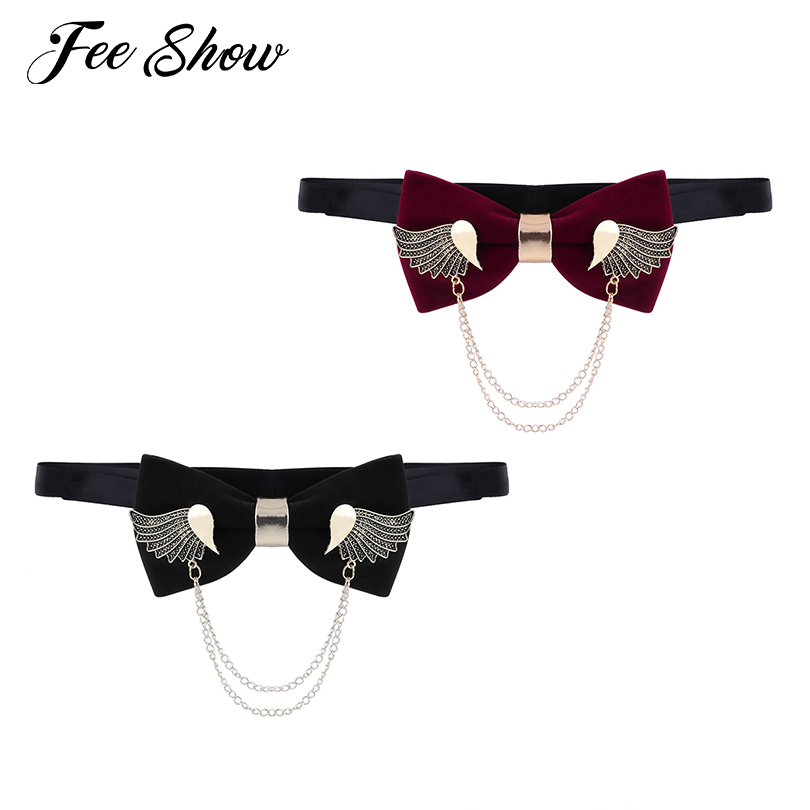 19d7fed3dd36 feeshow Fashion Unisex Adults Adjustable Metal Golden Wings Two Layer  Chains Flannel Pre tied Neck Bow Tie for Suits and Tuxedos-in Men's Ties ...