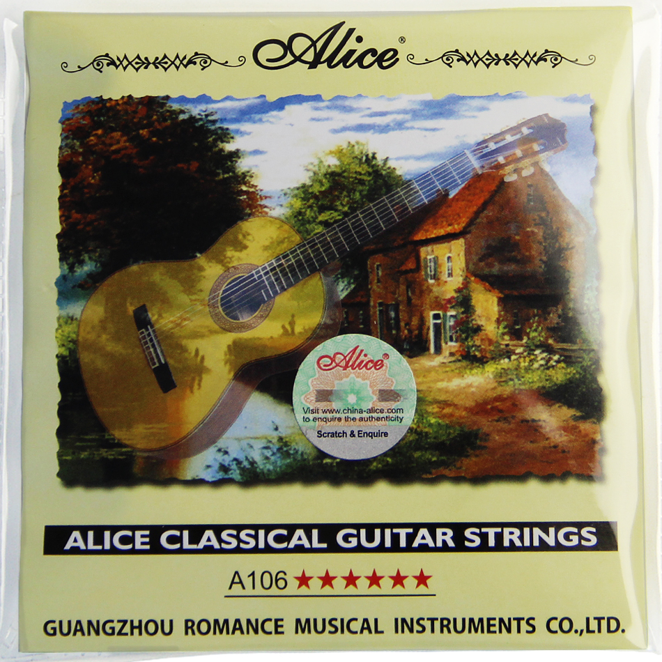 ALICE A106 Clear Nylon & Silver-Plated Copper Alloy Wound Classical Guitar Strings